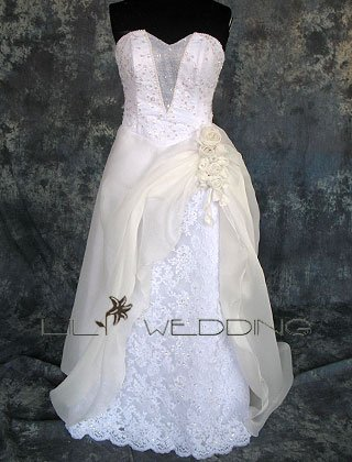 Beaded Lace Bodice Wedding Dress - Style LWD0107