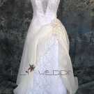 Beaded Lace Bodice Wedding Dress - Style LWD0107