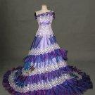 A-Line Chapel Length Purple Wedding Dress - Style LWD0075