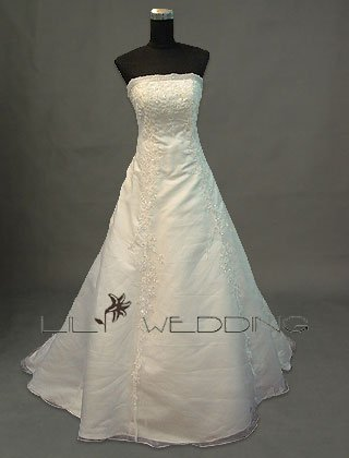 Embroidery Strapless Bridal Gown - Style LWD0083