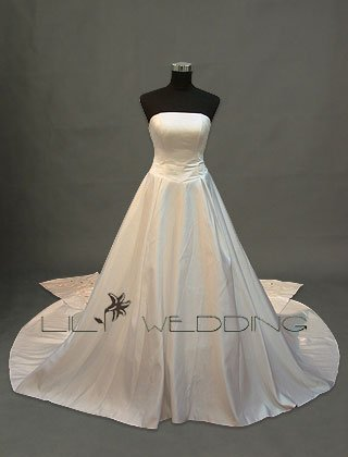 Satin Semi-Cathedral Formal Bridal Gown - Style LWD0085