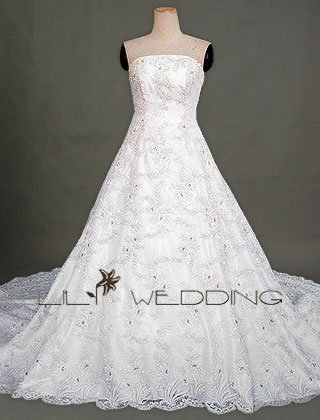 Lace Over Satin Princess Bridal Dress - Style LWD0086