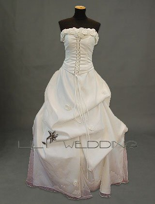 Satin Roses Decorated Bridal Dress - Style LWD0087