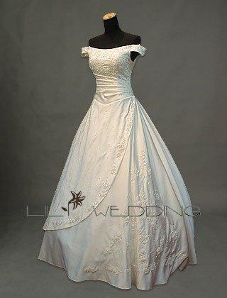 Off-The-Shoulder A-Line Bridal Dress - Style LWD0100
