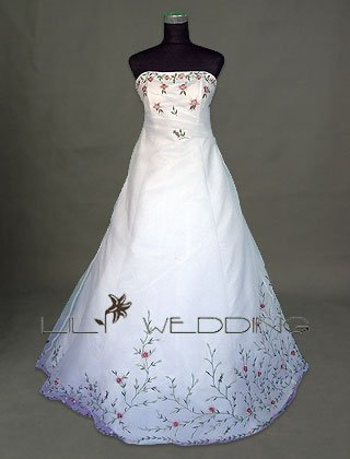 Embroidery And Hand Beading Wedding Gown - Style LWD0104