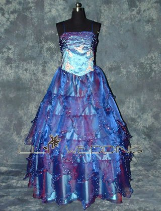Spaghetti Straps Blue Bridesmaid Dress - Style LED0017
