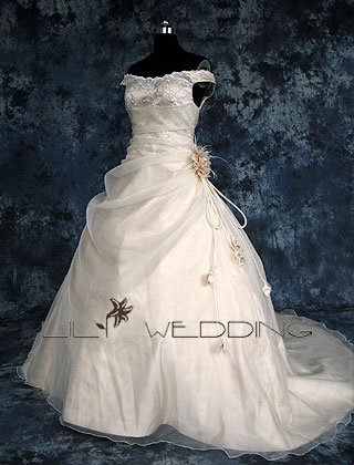 Off-The-Shoulder Formal Wedding Gown - Style LWD0105
