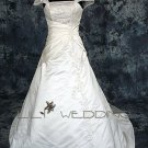 Satin&Lace Short Sleeve Wedding Dress - Style LWD0106
