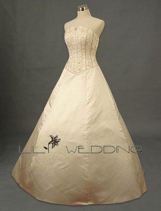 Satin Bodice Adorned Beadworks Bridal Dress - Style LWD0116