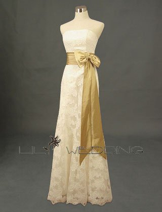 Butterfly Knot Satin Bridal Gown - Style LWD0117
