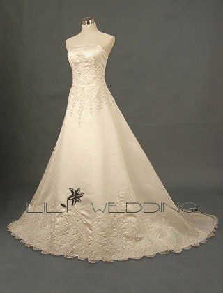 A-Line Tulle Overlay Wedding Gown - Style LWD0118