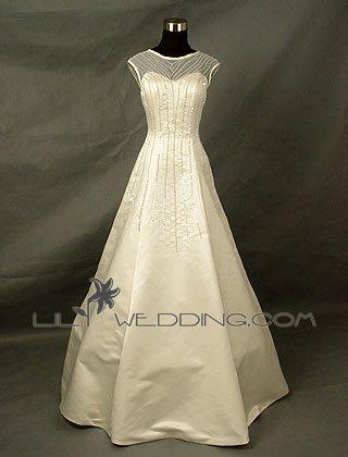 Organza Covered Satin Wedding Dress - Style LWD0127