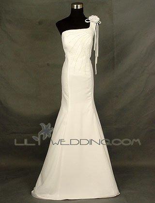 One Shoulder White Bridesmaid Dress - Style LED0038