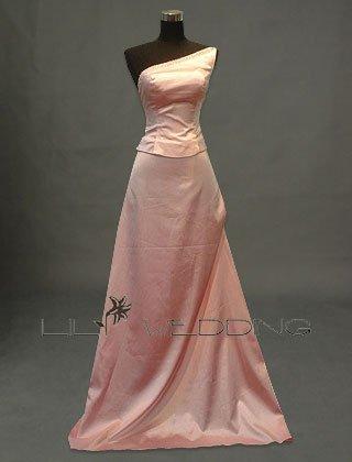 Pink One Shoulder Bridesmaid Dress - Style LED0042