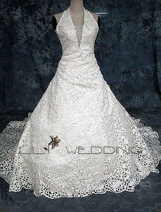 Halter A-Line Wedding Gown - Style LWD0148