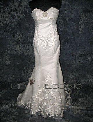 Mermaid Satin Organza And Lace Wedding Dress - Style LWD0160