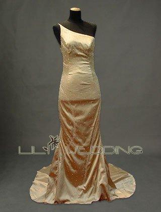 One-Shoulder Neckline Beads Bridesmaid Dress - Style LED0051