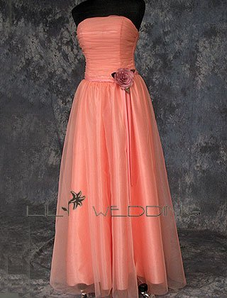 Organza Bodice Modest Bridesmaid Dress - Style LED0058
