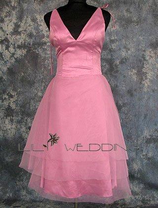 V-Neck Satin Bridesmaid Dress - Style LED0069