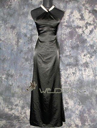 Pearl Neckline Black Bridesmaid Dress - Style LED0072