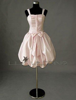 Knee Length Bubble Skirt Bridesmaid Dress - Style LED0074