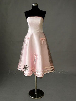 Lightpink Tea-Length Bridesmaid Gown - Style LED0076