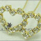 Double Heart Rhinestone Hair Pins