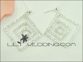 Large Rhinestone Gypsy Square Earrings