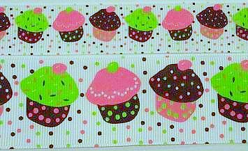 2Y 7/8 HAPPY BIRTHDAY Cupcake sprinkle grosgrain ribbon