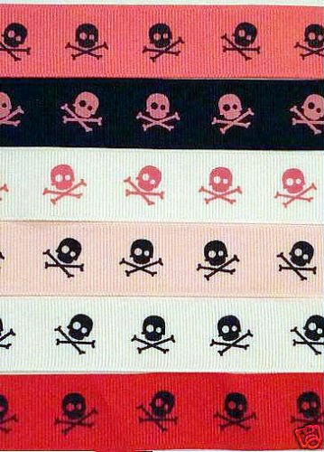 2YARD 7/8 skull pirate grosgrain ribbon GOTH ROCK CRAFT