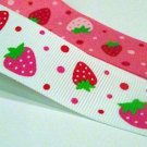 1 STRAWBERRY swiss polka dot Grosgrain Ribbon WHITE NEW