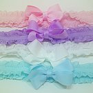 LOT 4  Double Ruffle Headband Hair Bow  Baby Girl New