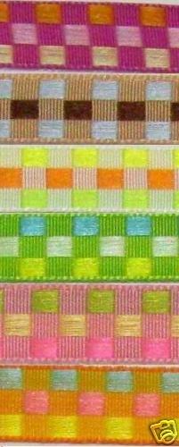 "2 Yard 3/8"" jacquard woven checkboard ribbon craft trim"