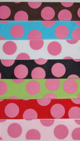 2 YARD 7/8 JUMBO CANDY DOT print grosgrain ribbon CUTE