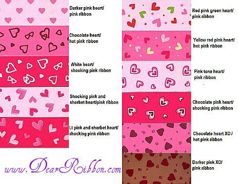 "2 YARD 1.5""  Valentines Day Grosgrain ribbon Heart Pink"