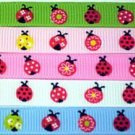 "LOT 3 YARDS~ 3/8"" M2MG ladybug flower grosgrain ribbon"