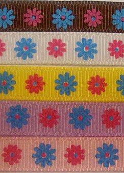 "3YarDs 3/8"" 2 TONE DAISy FLOWER Grosgrain Ribbon Spring"