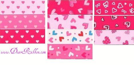 2YD 7/8 Valentines DAY Grosgrain ribbon Heart print NEW