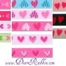 2YD 3/8 Valentines Holiady Grosgrain ribbon Heart DOTS