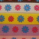 "3yd  3/8"" grosgrain ribbon daisy flower pink brown blue"