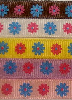 "3yd  3/8"" grosgrain ribbon daisy flower pink brown blue"