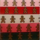 "3 Yards 3/8"" christmas gingerbread man grosgrain ribbon"