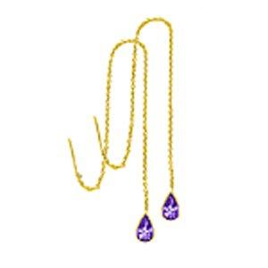 14k Pear Shape Amethyst On Dangle Chain Earrings (2.0 cts.tw.)