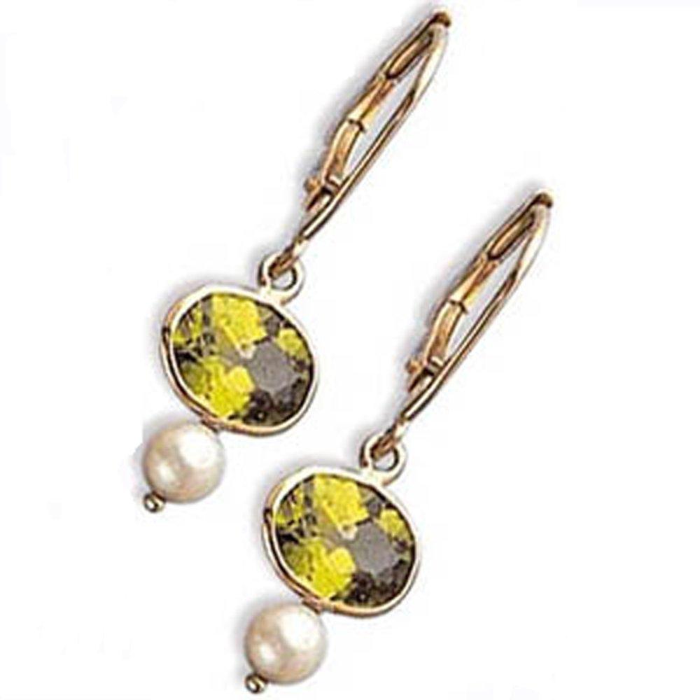 14k Oval Peridot Pearl Earrings (2.40 cts.tw.)