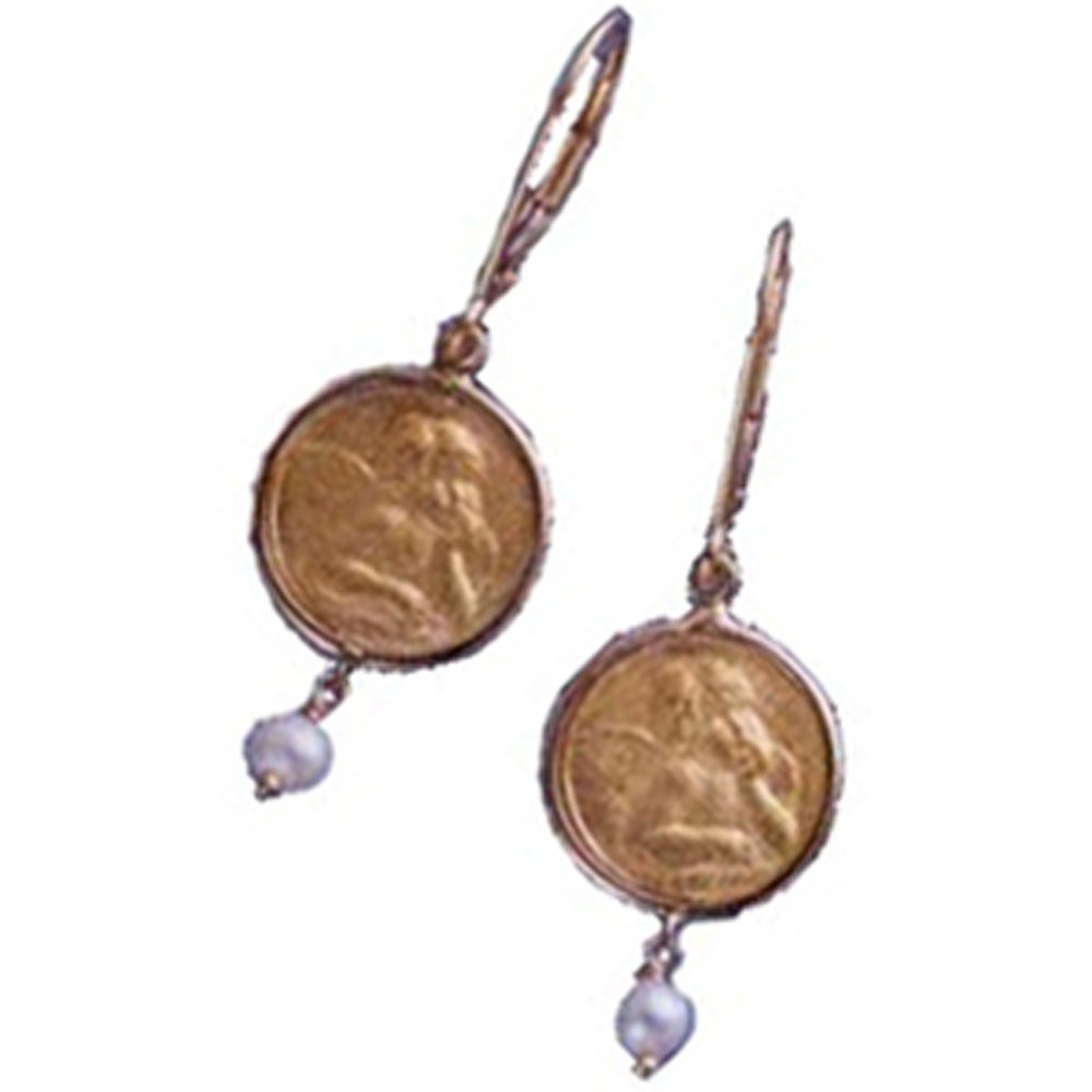 14k Solid Gold Large Angel Pearl Dangle Earrings (4.9.gr.tw)