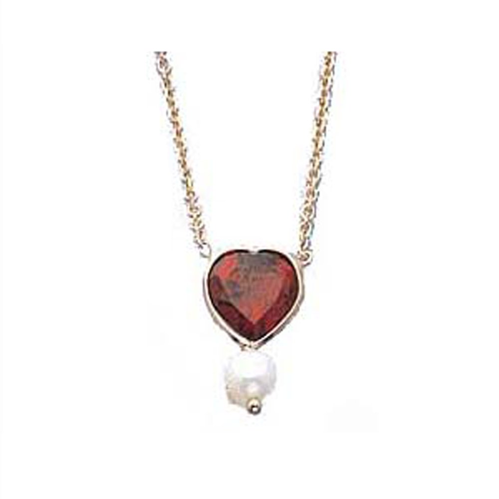 14k Gold Heart-Shaped Garnet Pearl Necklace (1.30.cts.tw)