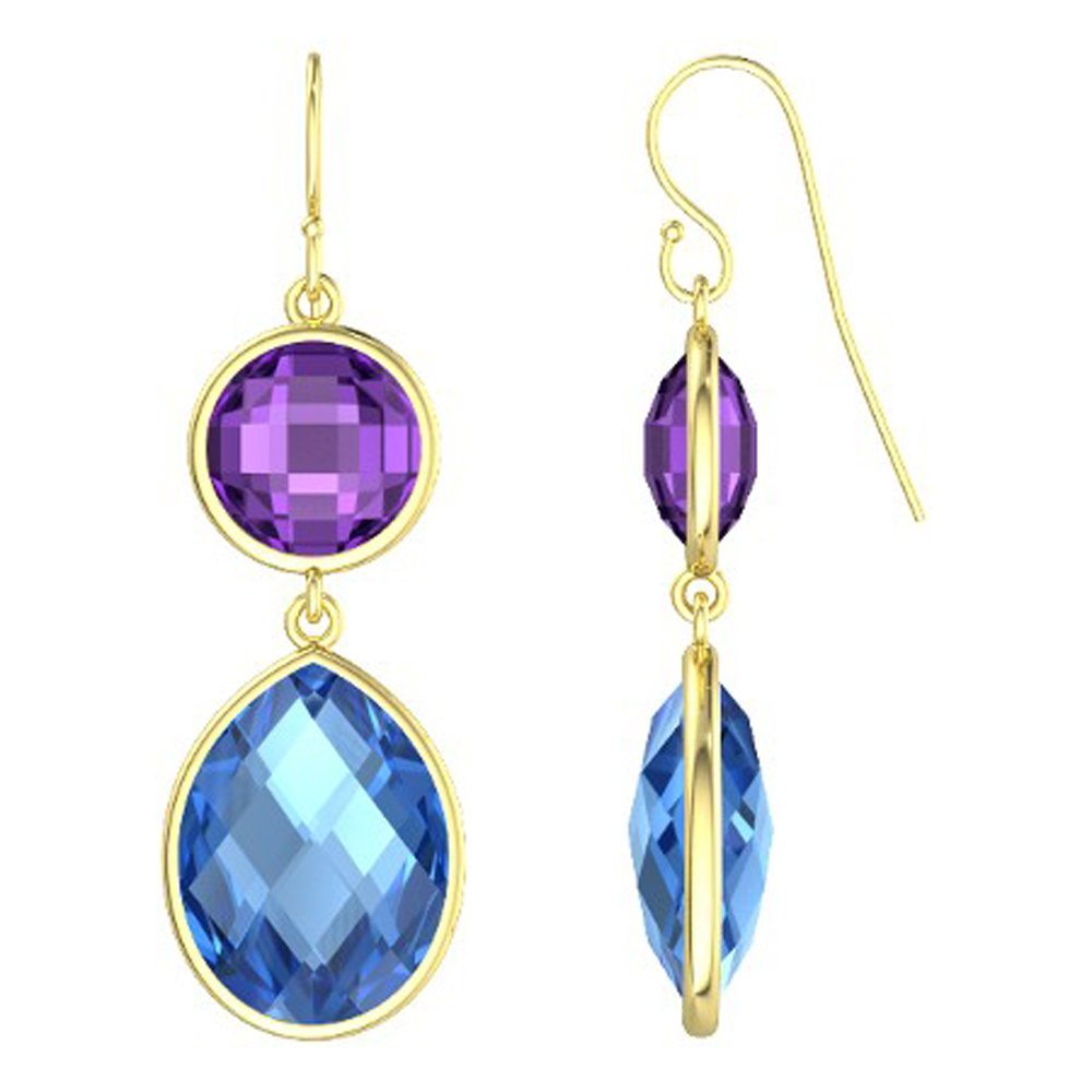 14k Gold Rose Cut Round Gemstone Dangle Earrings (29.0 cts.tw)
