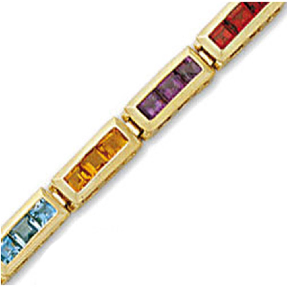 14k Gold Rainbow Color Gemstone Bracelet (9.6.cts.tw)
