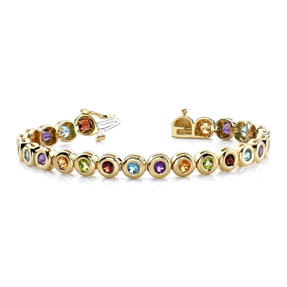14k Gold Multi Color Gemstone Bracelet (6.0.cts.tw)