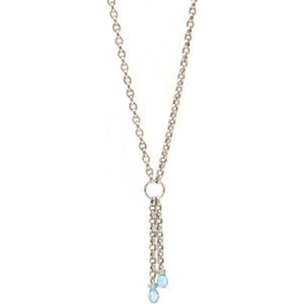 14k Solid Gold Tassel Blue Topaz Briolette Necklace (3.0.cts.tw)
